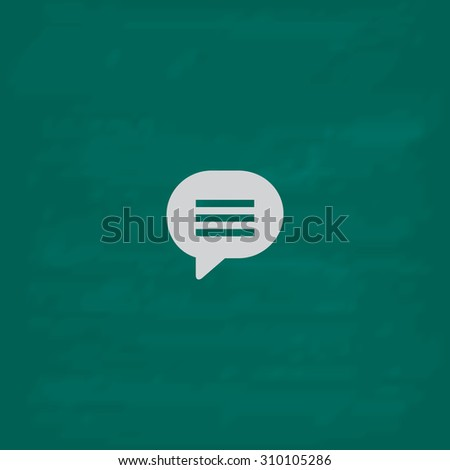 Speech bubble.  Icon. Imitation draw with white chalk on green chalkboard. Flat Pictogram and School board background. Illustration symbol - stock photo