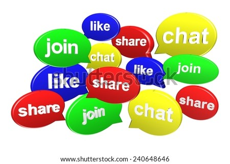 Speech bubble in 3d for social media concept on white background - stock photo