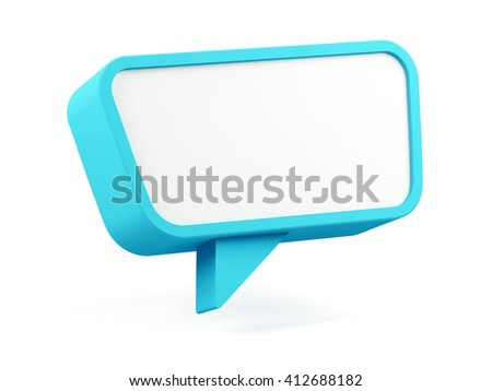 Speech bubble isolated on white. 3D rendering image. - stock photo