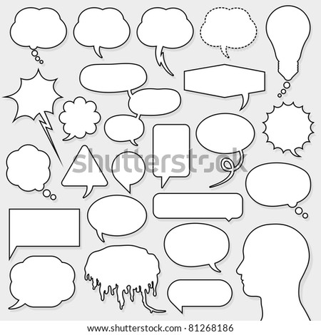 speech bubble set with male head silhouette - stock photo