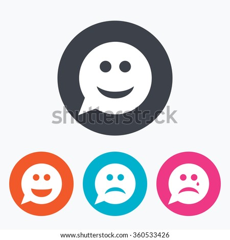Speech bubble smile face icons. Happy, sad, cry signs. Happy smiley chat symbol. Sadness depression and crying signs. Circle flat buttons with icon. - stock photo