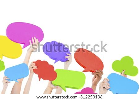 Speech Bubble Social Media Networking Communication Concept - stock photo