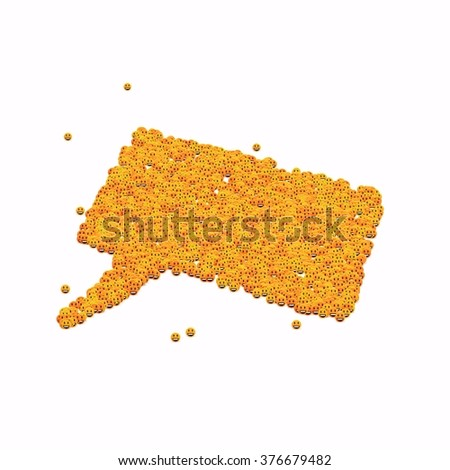Speech bubble symbol. Glyph out of tiny textures. Particles representing human and his emotions. - stock photo