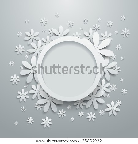 Speech bubble with paper flowers. Vector version also available in gallery. - stock photo