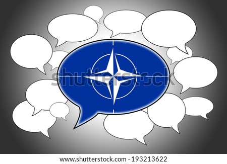 Speech bubbles concept - NATO flag in the front - stock photo