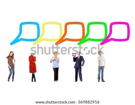 Speech Bubbles Conversations in a Company  - stock photo