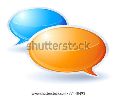 Speech bubbles orange and blue - stock photo