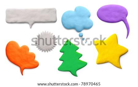 Speech Bubbles – plasticine (set 4) - stock photo