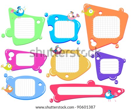 Speech bubbles set with birds - stock photo