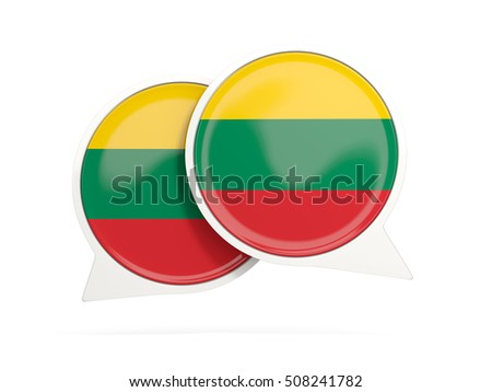 Speech bubbles with flag of lithuania. Round chat icon isolated on white, 3D illustration