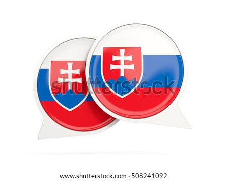 Speech bubbles with flag of slovakia. Round chat icon isolated on white, 3D illustration