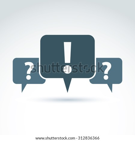 Speech bubbles with punctuation symbols, call center icon. Question and exclamation marks isolated on white background, FAQ. - stock photo