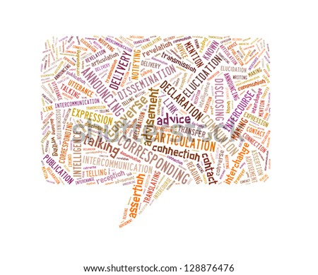 Speech Rectangle Made Up Of Text On White Background - stock photo