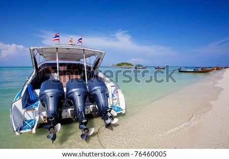 Speed Boat at Lepeh National Park Thailand - stock photo