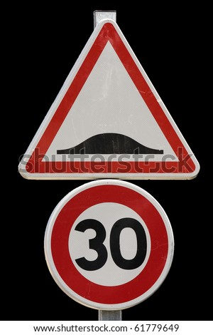 Speed bump sign. - stock photo