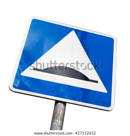 Speed Bump. Square road sign isolated on white background - stock photo