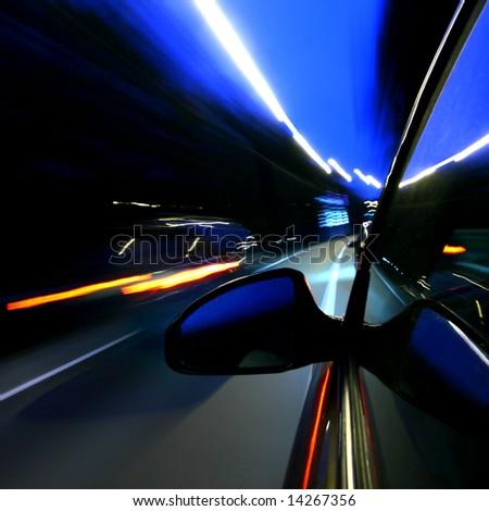 speed car on highway - stock photo