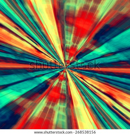 Speed Concept. Abstract Digital Art. Blue Red Background. Fractal Tunnel. Futuristic Fantasy Illustration. Modern Artistic Design. Creative Wormhole Artwork. Artsy Stripes Effect. Interstellar Travel. - stock photo