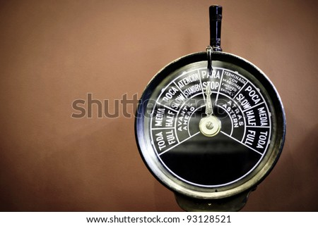 speed control from vintage ship - stock photo