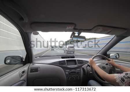 Speed drive from car view. - stock photo