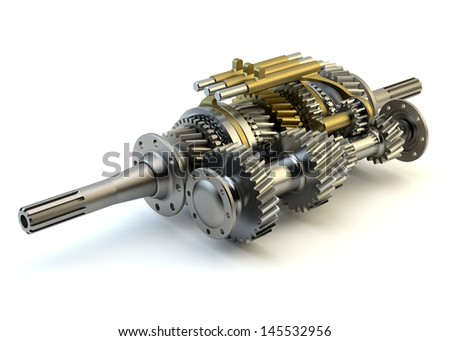 Speed gearbox on isolated background - stock photo