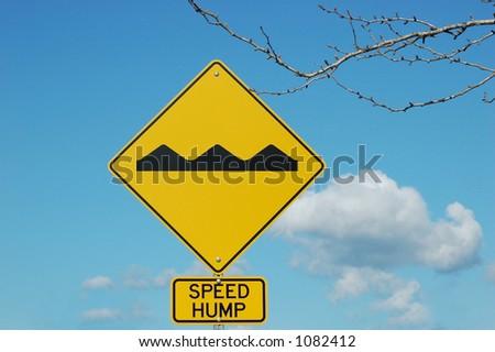Speed hump sign - stock photo