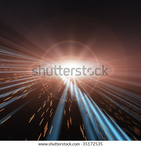 Speed Lights through Space - stock photo