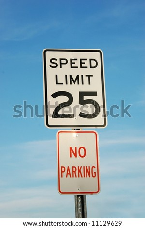 Speed Limit And No Parking Sign