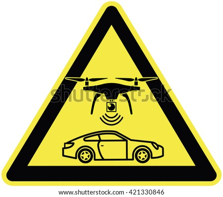 Speed Limit enforced by Drone. Traffic sign for a new traffic enforcement strategy to track highway speeders - stock photo
