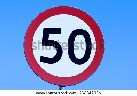 Speed limit 50 kph road sign. - stock photo