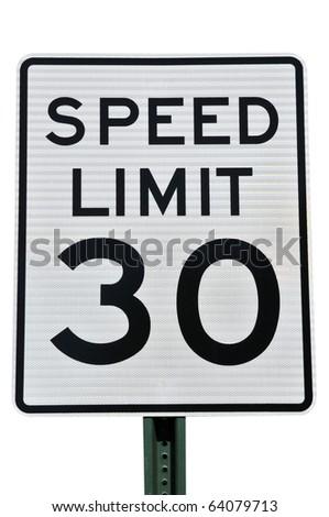 Speed Limit 30 MPH Sign Isolated on White - stock photo