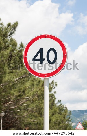 Speed limit sign 40