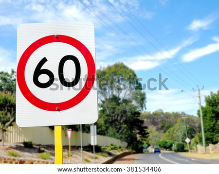 Speed limit sign in the town - stock photo