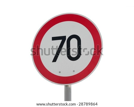 Speed limit sign isolated on white background