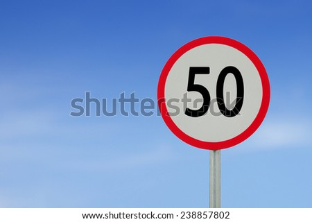 speed limit sign 50 on sky background.