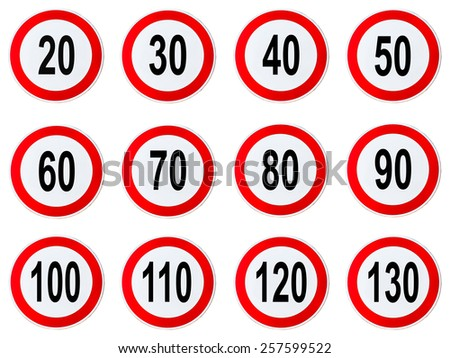 Speed Limit Sign - Set of circle speed limit signs with red bord - stock photo