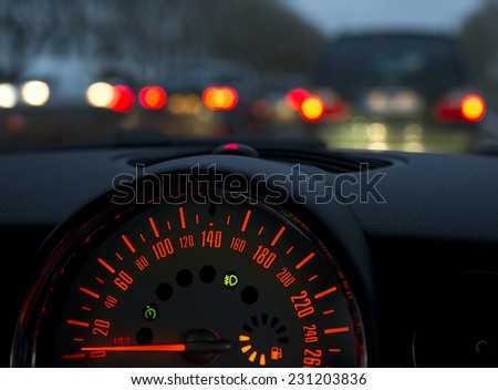Speed meter of a car in a traffic jam