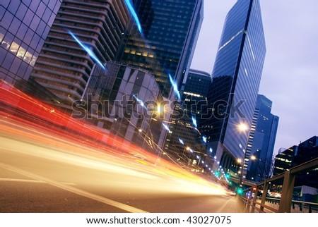 speed morning traffic motion blur through downtown in europe - stock photo