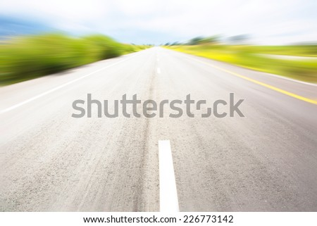 speed motion on  road  - stock photo
