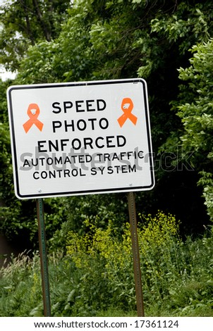 Speed Photo Enforced highway construction sign - stock photo