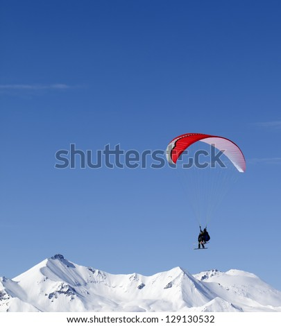 Speed riding in Caucasus Mountains. Georgia, ski resort Gudauri. - stock photo