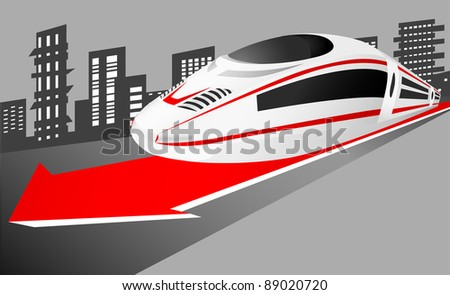 Speed train leaving the city - stock photo