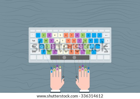 Speed typing. Become a Keyboard Ninja. Teaching illustration how to improve your typing speed.