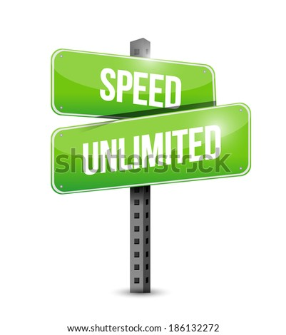 speed unlimited signpost illustration design over a white background - stock photo