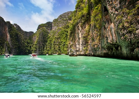 Speedboats in Koh Phi Phi Ley, Thailand. - stock photo