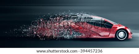 speeding car disintegrating - stock photo