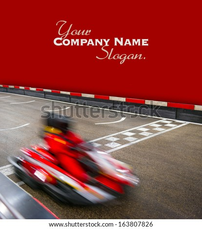 Speeding car on a kart race - stock photo