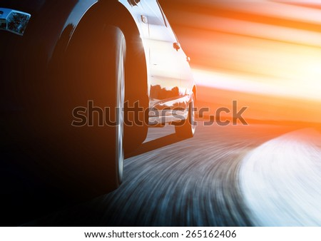 speeding car through the street of shanghai china in night. - stock photo
