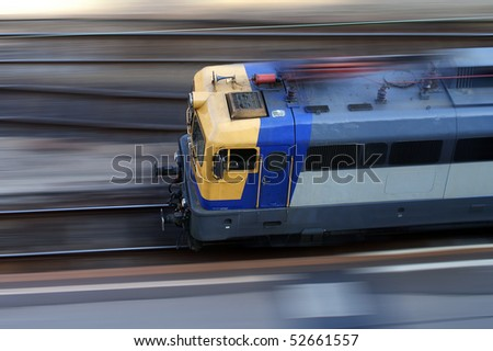 speeding locomotive - stock photo