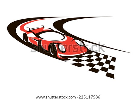 Speeding racing car crossing the finish line as it roars around a bend towards the checkered flag - stock photo